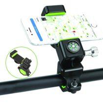 Kerékpáros, motoros telefontartó + LED lámpa + iránytű