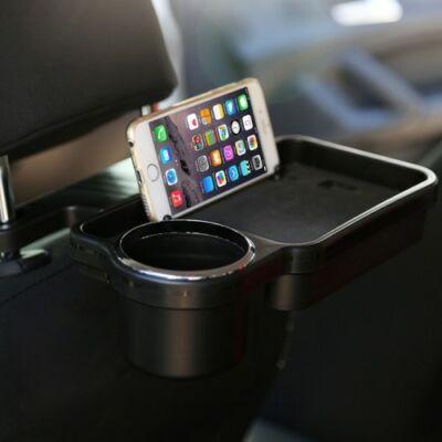 Autós pohár tartó és tároló tálca ülésre