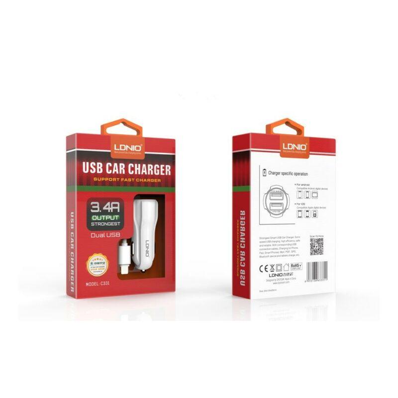 Ldnio C331 szivargyújtós 2USB töltő 3,4A Fehér  iOs,iPhone 5/5S/6/7-hez