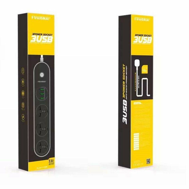 Univerzális 3-as hálózati elosztó 3 USB porttal 1,5m angol-magyar-amerikai