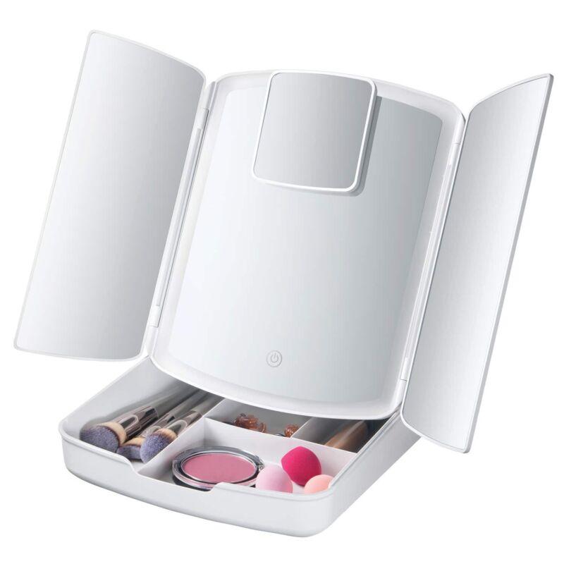 Foldaway kozmetikai sminktükör tároló rekeszekkel