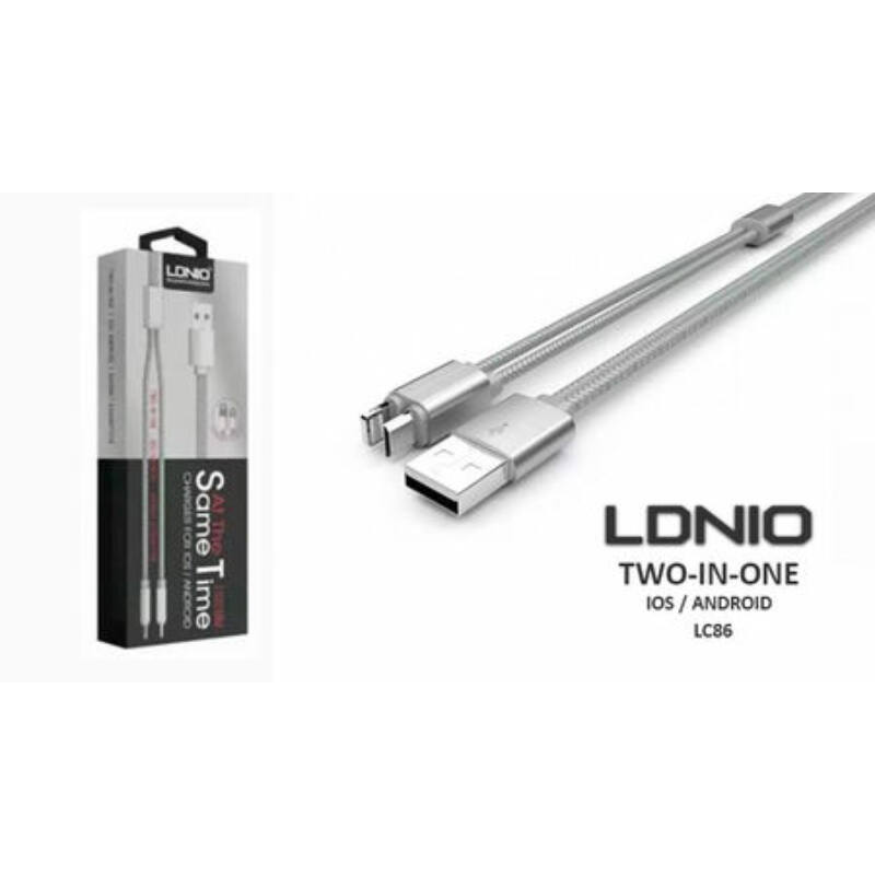 Ldnio 2in1 LC-86 USB töltőkábel microUsb-iOs,iPhone 5/5S/6/Plus/7-hez