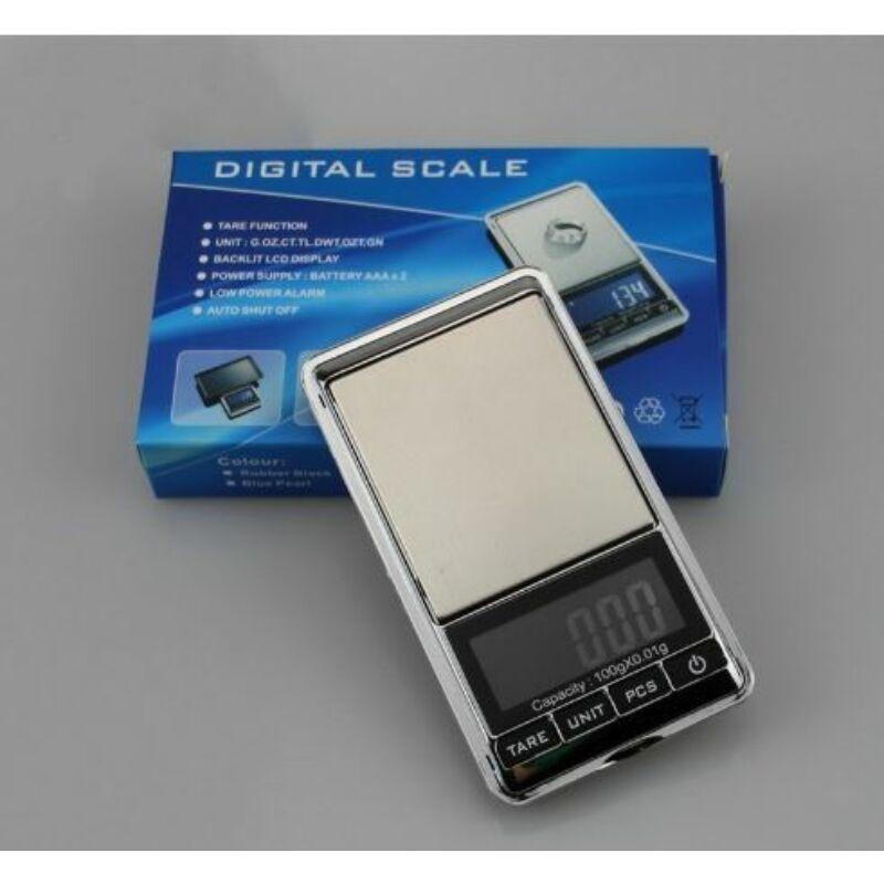 Mini digitális zsebmérleg ékszermérleg+védőtok (100g-ig mér)