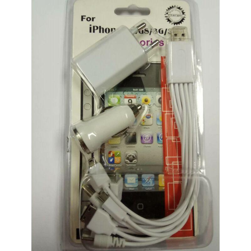 11 in 1 utazós töltő szett (iphone 4/5/6/7/micro USB,laptop töltőfej + szivargyújtós és hálózati adapterrel)