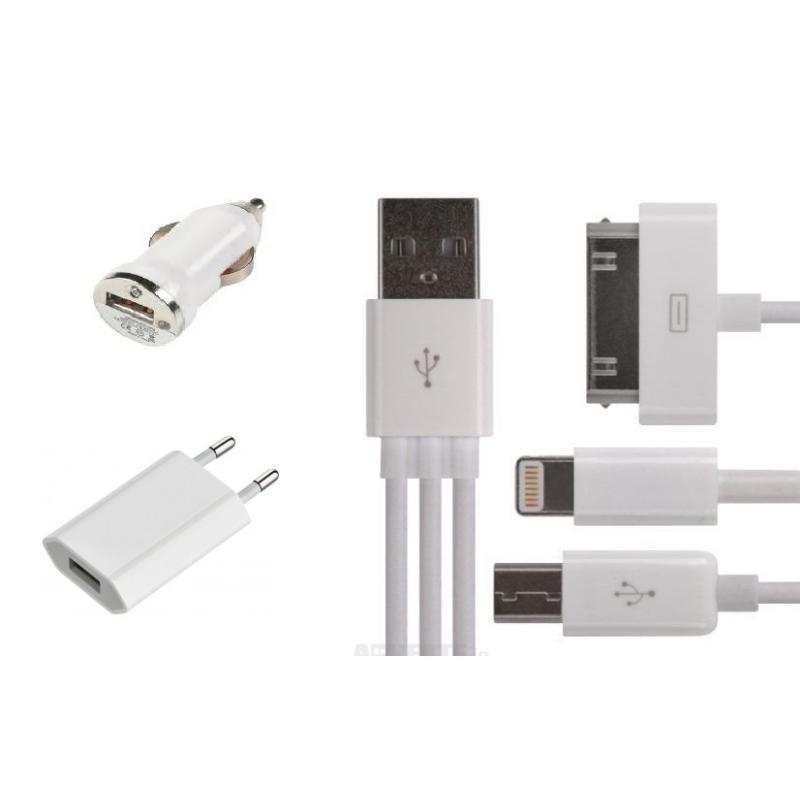 5 in 1 utazós töltő szett (iphone 4/5/6/7/micro USB, szivargyújtós és hálózati adapterrel)