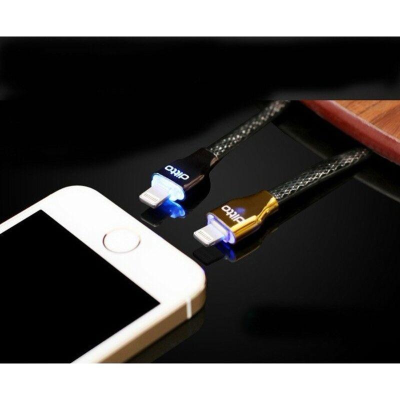 Earldom Safe&Speed LED-es gyorstöltő-és adatkábel iPhone 5/5S/6/6S/6Plus-hoz 1m