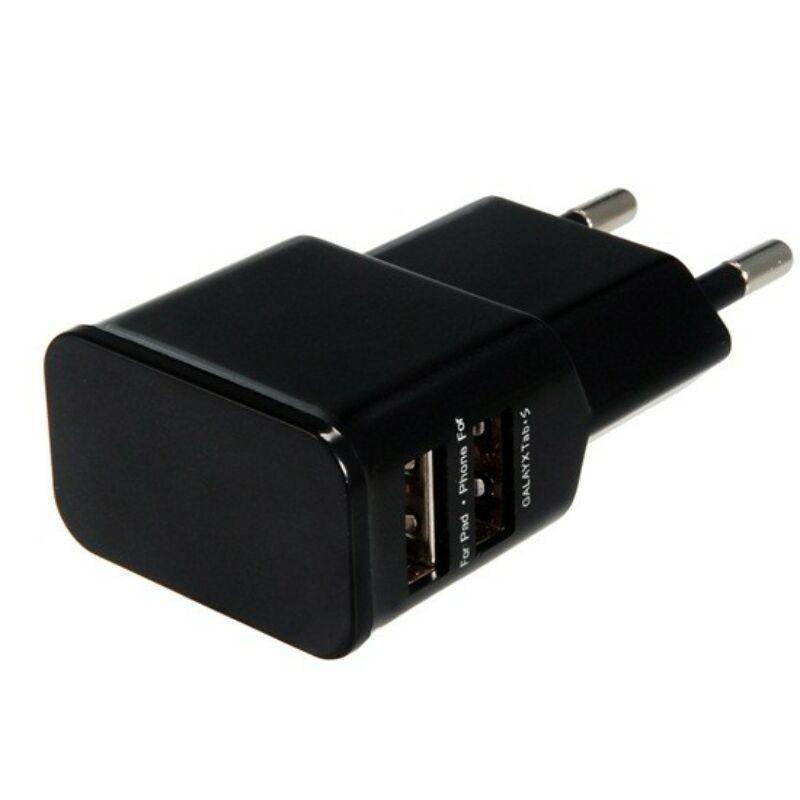 Hálózati töltőfej 3.1A 2USB port - fekete