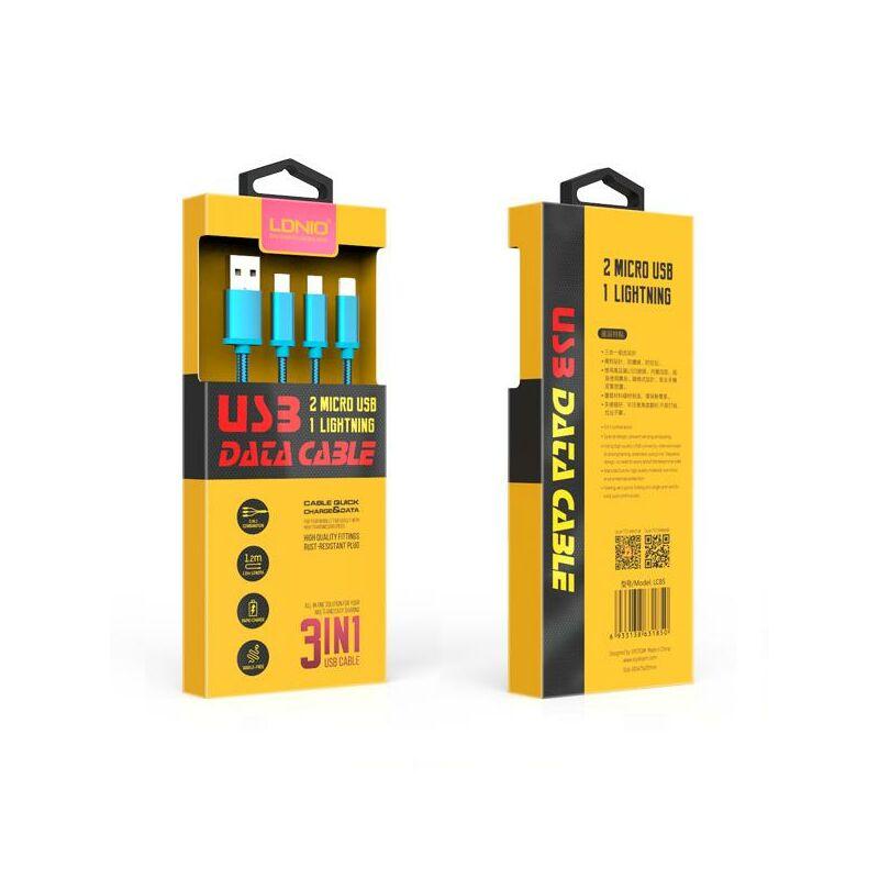 Ldnio 3 in 1 univerzális töltő szett 2micro/1lighting LC85