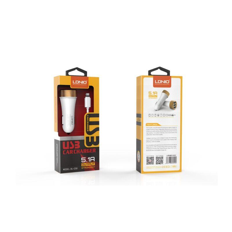 Ldnio DL-C50 szivargyújtós 3USB töltő 5.1A  iOs,iPhone 5/5S/6/Plus/7-hez fehér