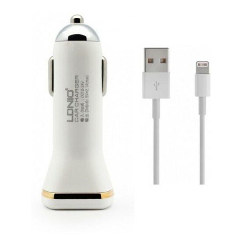 Ldnio DL-219 szivargyújtós 2USB töltő, 2.1 A  micro USB - fehér