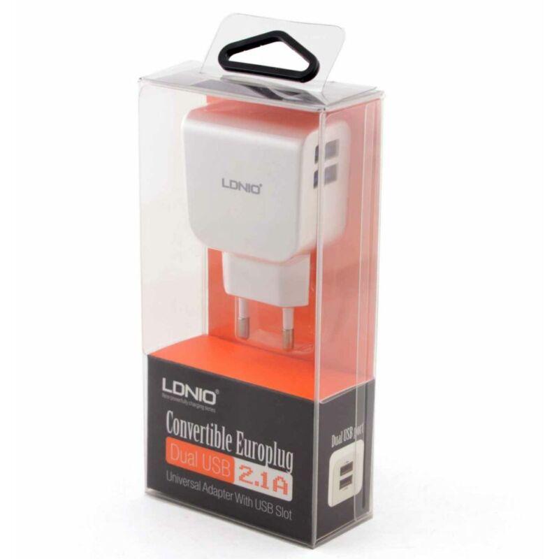 LDNIO 2 portos töltőv 2.1A + iphone 4/4S töltőkábel