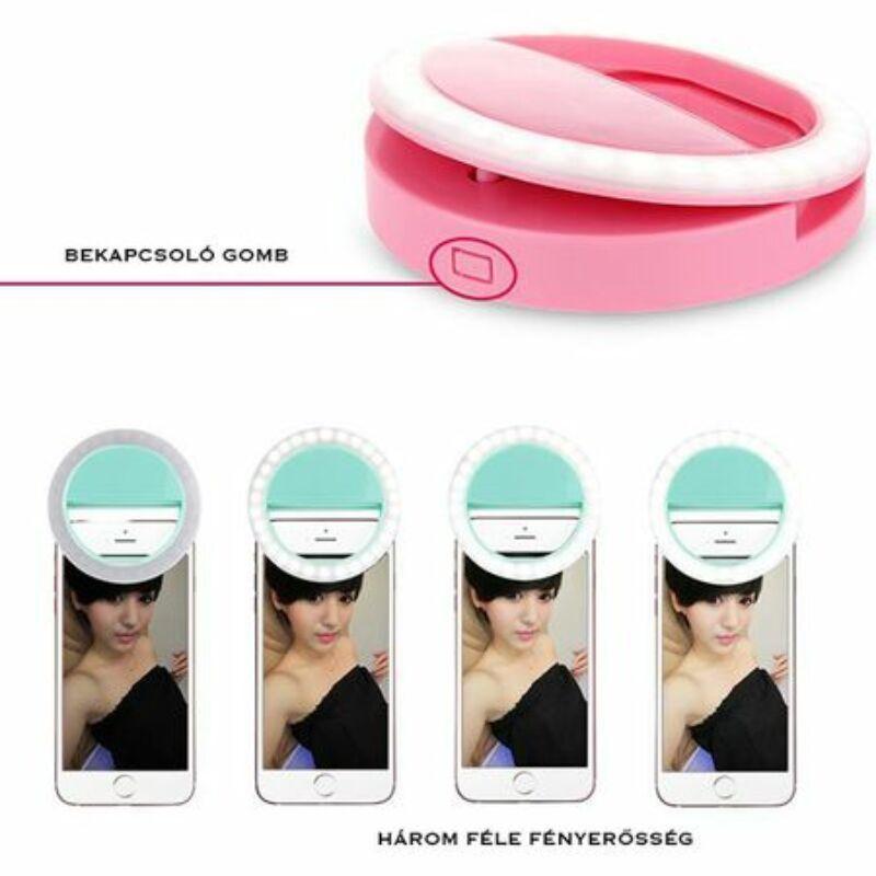 Selfie Ring Light telefonra illeszthető LED szelfivilágítás 3 fokozattal