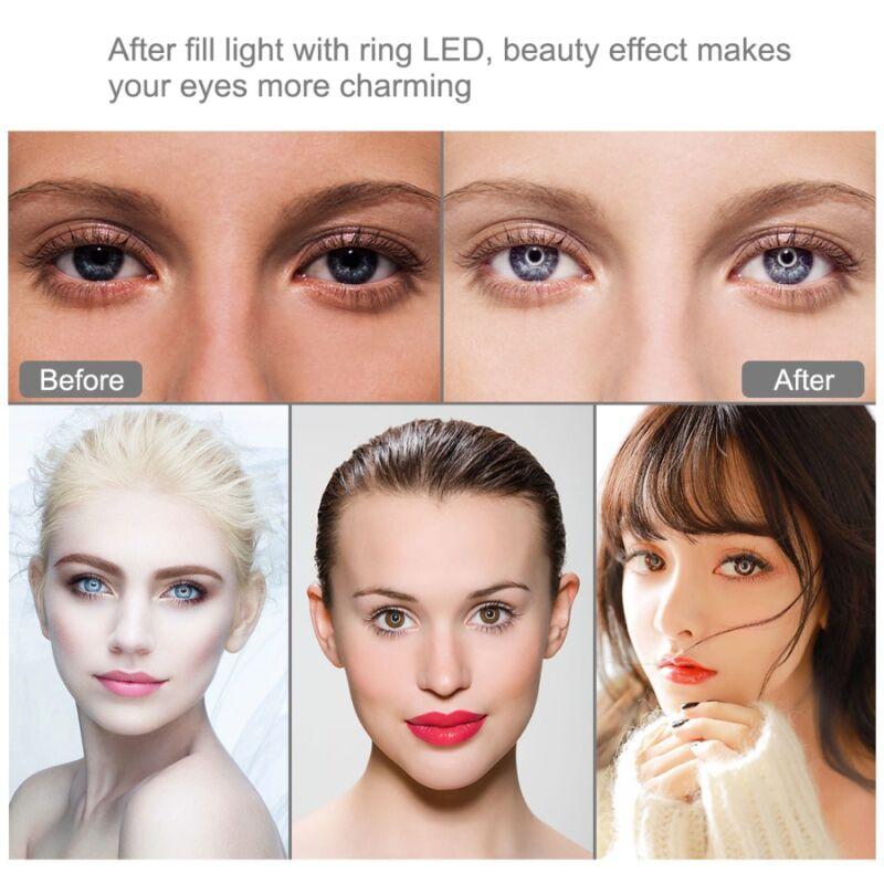 LED-es szelfi körfény + állvány 1m - fotózáshoz, videózáshoz, sminkeléshez, termékfotózáshoz