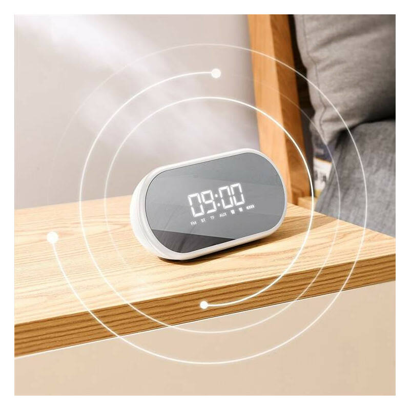 Baseus E09 Stylish Bluetooth hangszóró ébresztó órával fehér