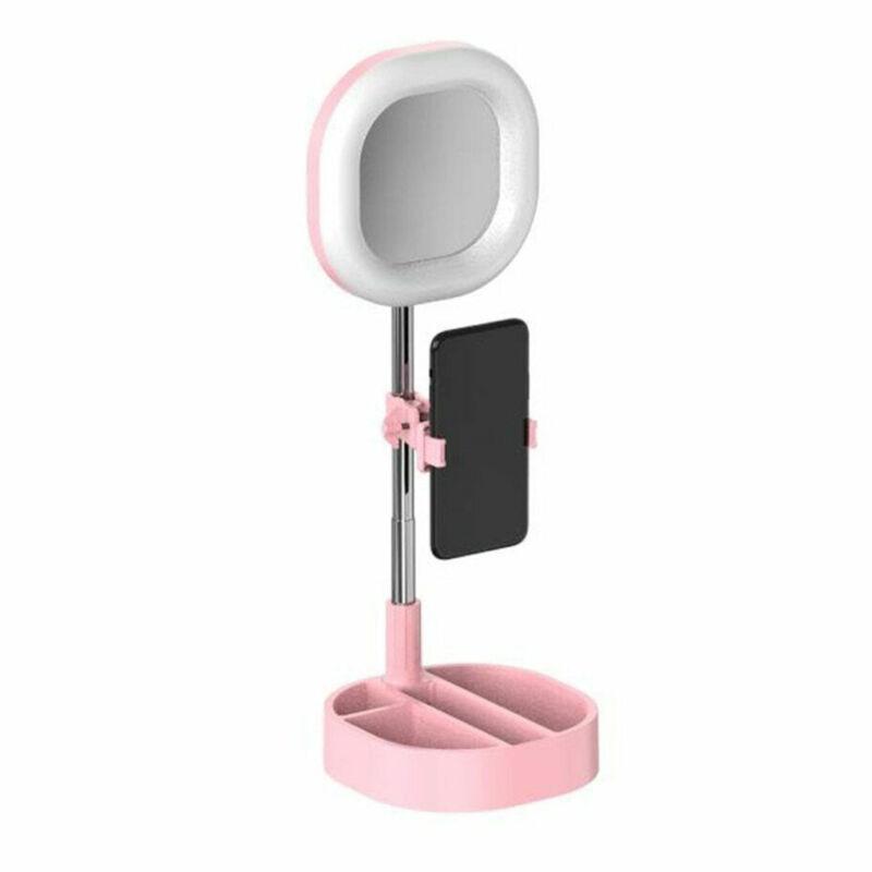LED szelfi gyűrű asztali telefon tartó és lámpa tükörrel és sminktartóval